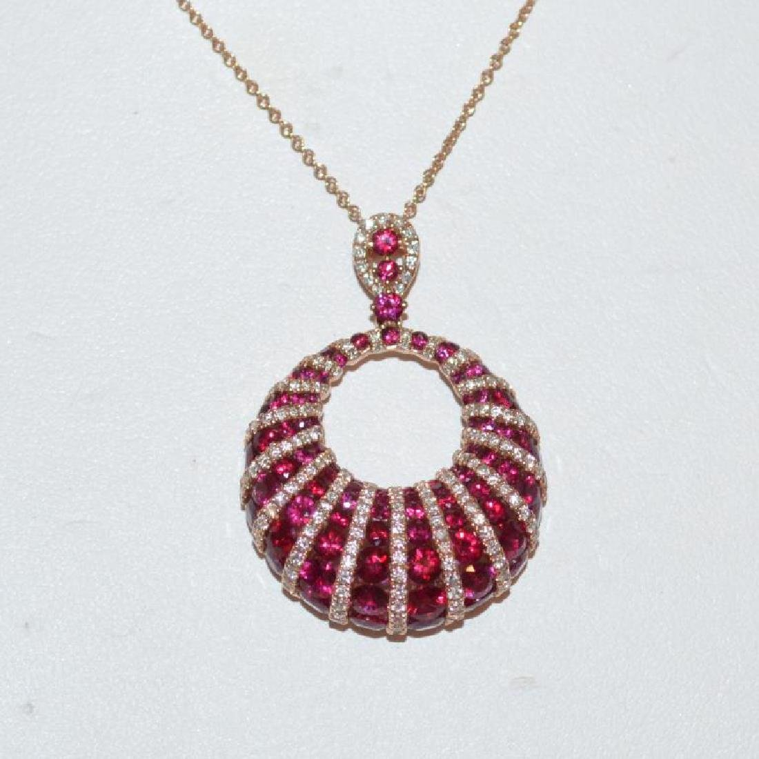 14kt rose gold ruby and diamond pendant by Parviz