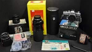 Lot of Minolta Camera Equipment Body, Lenses