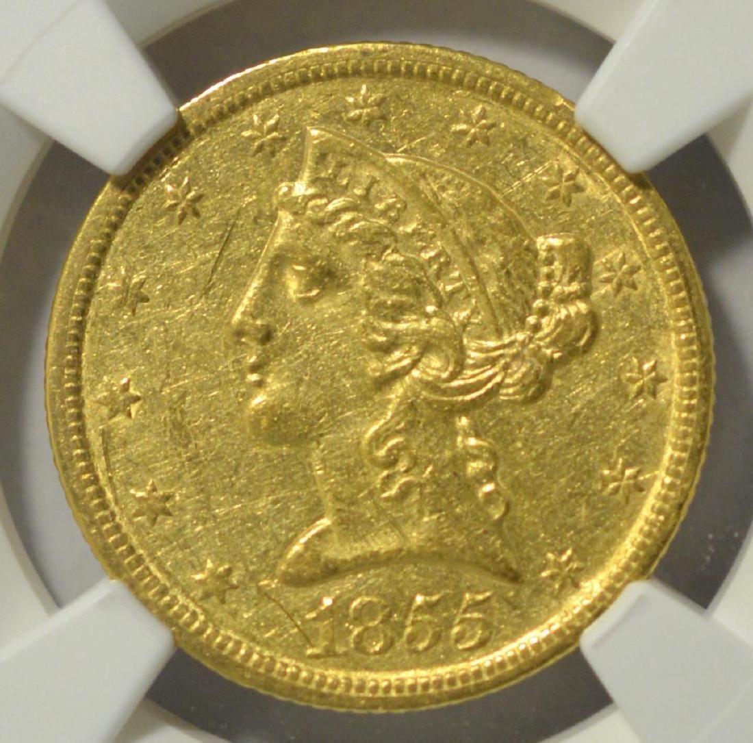 1855-C $5 Liberty Head Gold Half Eagle NGC AU 53
