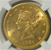 1884S 10 Liberty Head Gold Eagle NGC MS 61