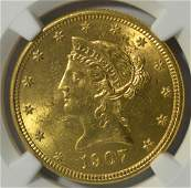 1907D 10 Liberty Head Gold Eagle NGC MS 62
