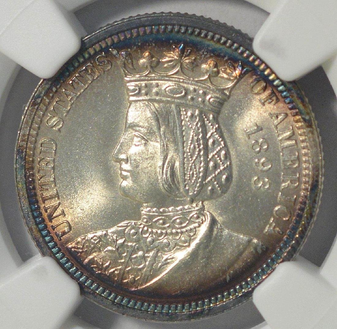 1893 Isabella Silver Quarter Dollar NGC MS65 Toned