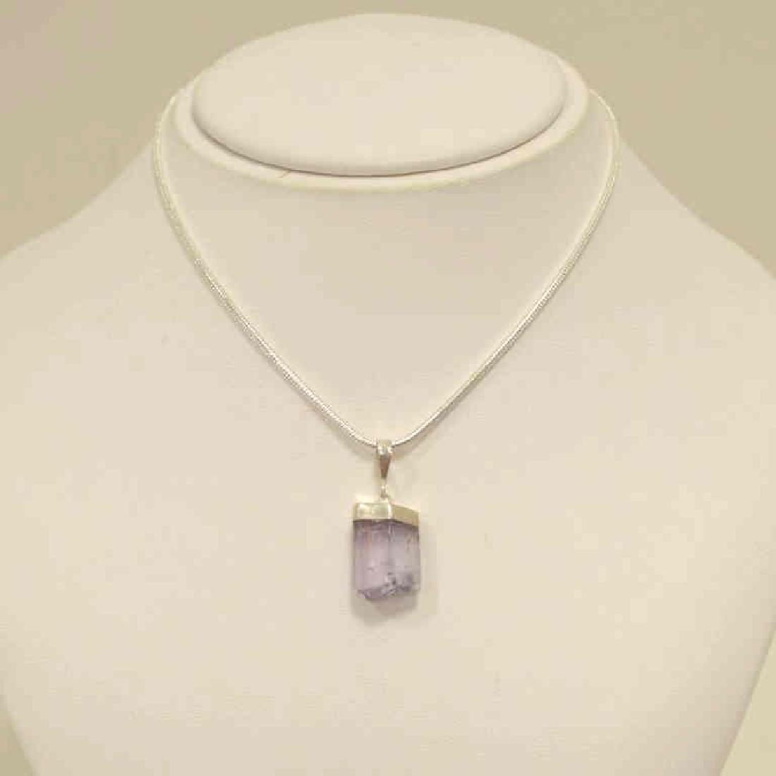 Sterling Silver kunzite crystal necklace