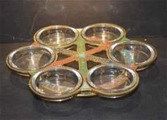 Vintage Judaism Jewish Hebrew Brass Glass Passover