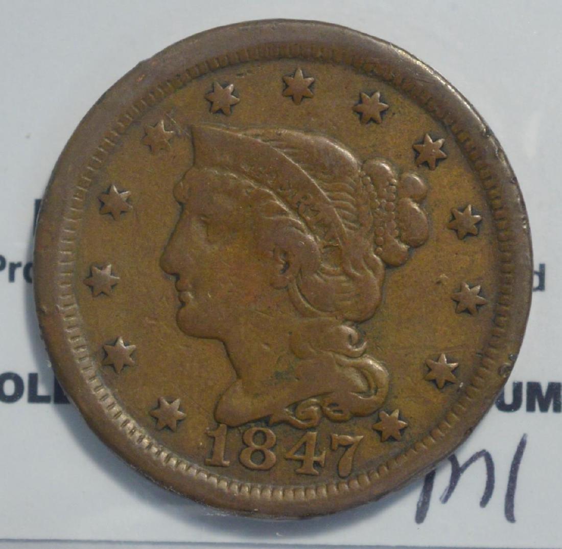1847 Braided Hair Large Cent Fine