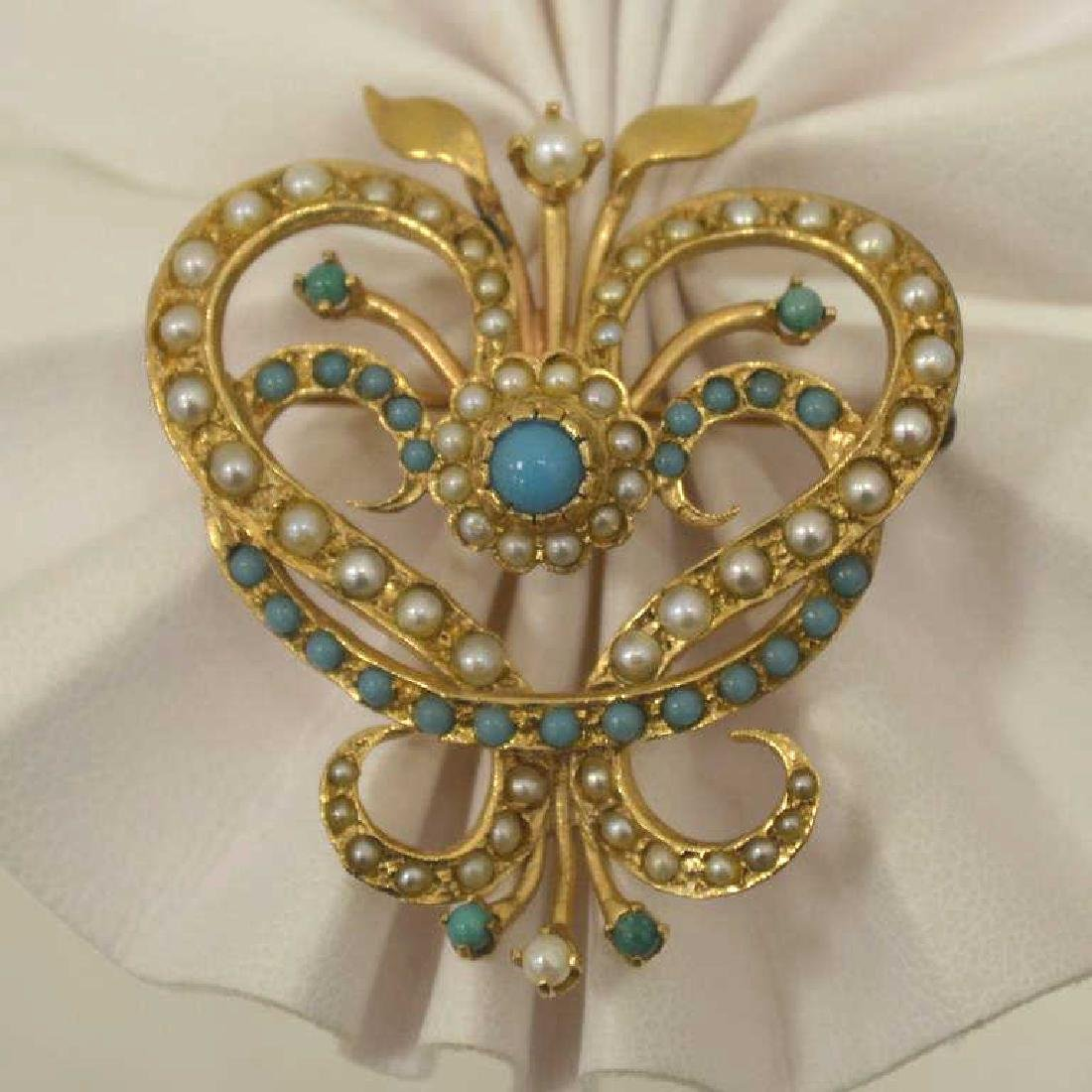 14kt yellow gold turquoise and pearl pin/ pendant