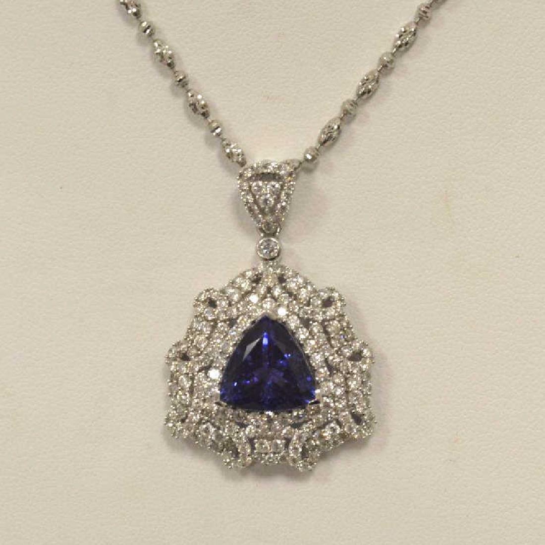 14kt white gold Tanzanite and diamond pendant