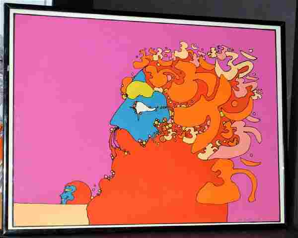 1972 Framed Peter Max Golden Time Serigraph Arches