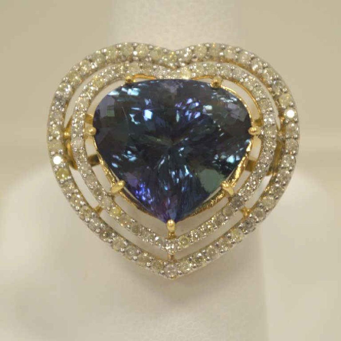 14kt yellow gold tanzanite and diamond ring
