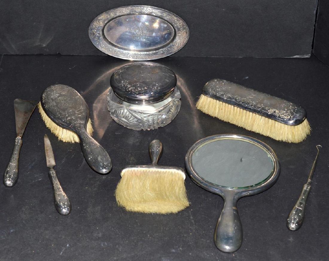 Vintage Gorham Sterling Silver Vanity 9 Piece Set