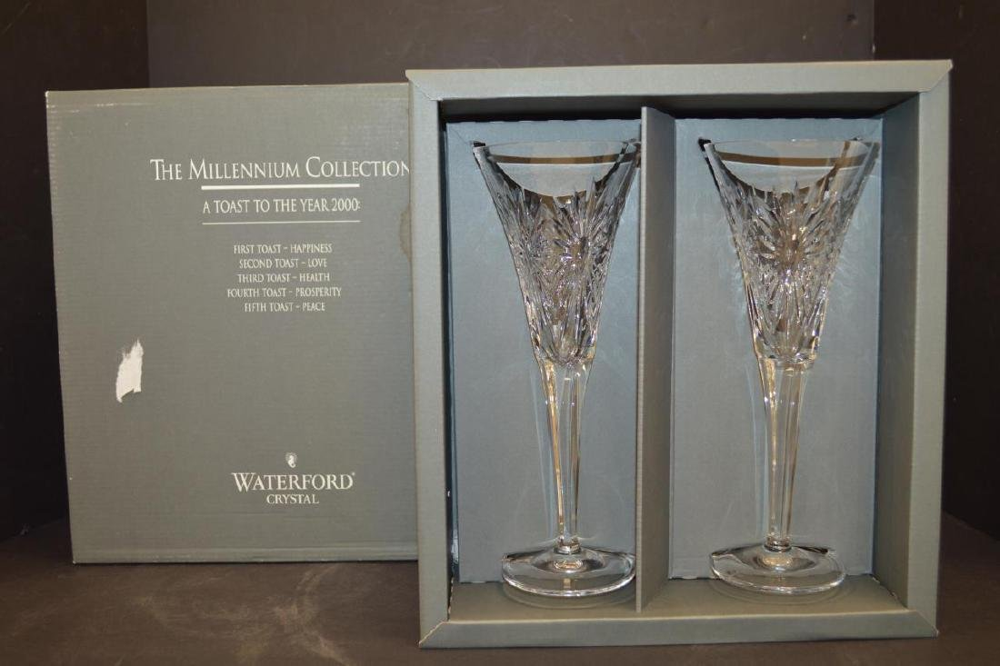 "Pair of Waterford Crystal Toasting Flutes ""Health"""