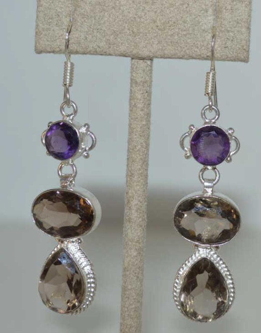 Sterling Silver amethyst and smoky quartz earrings