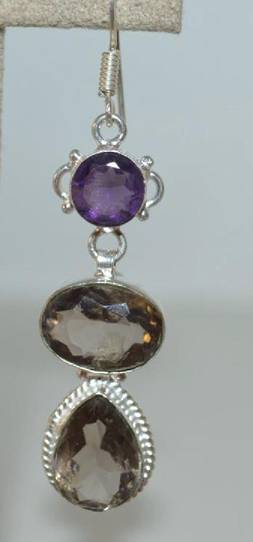 Sterling Silver amethyst and smoky quartz earrings - 2