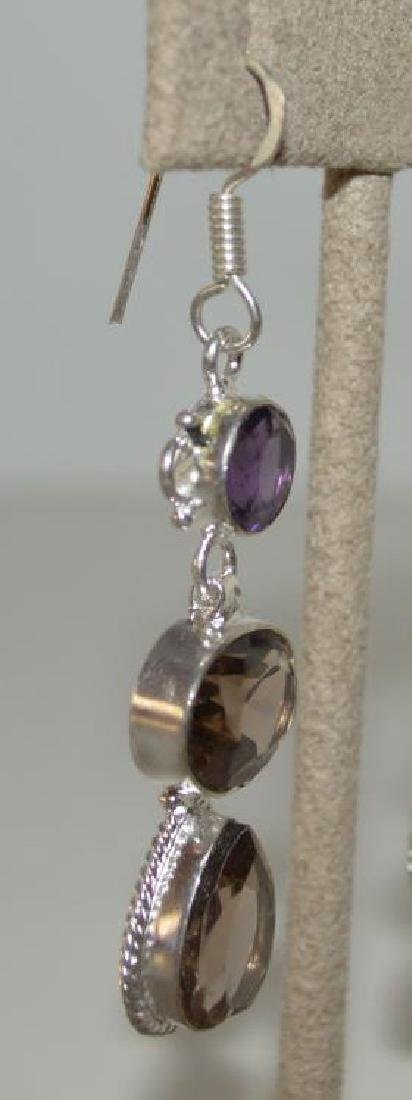 Sterling Silver amethyst and smoky quartz earrings - 3