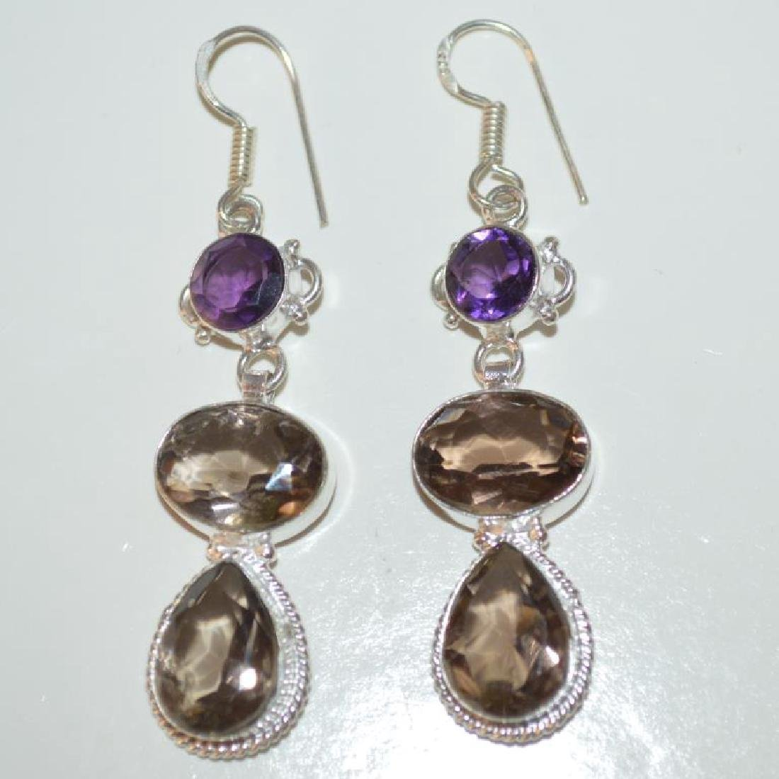 Sterling Silver amethyst and smoky quartz earrings - 4