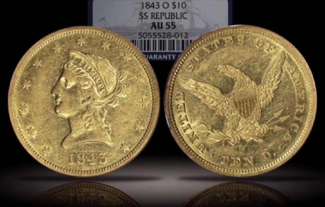 NGC AU-55 1843-O $10 Gold Eagle SS Republic