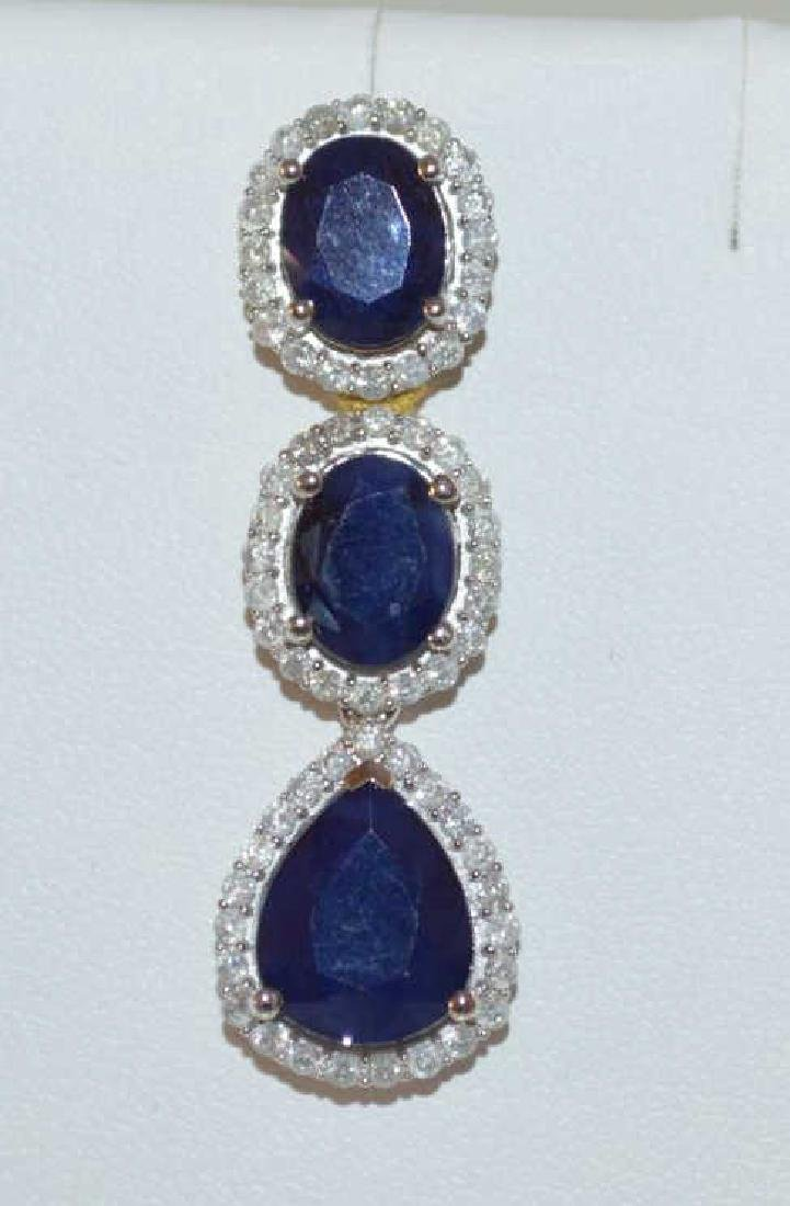Sapphire and Diamond Dangle Earrings - 2