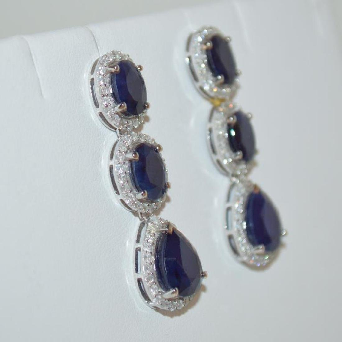 Sapphire and Diamond Dangle Earrings - 3
