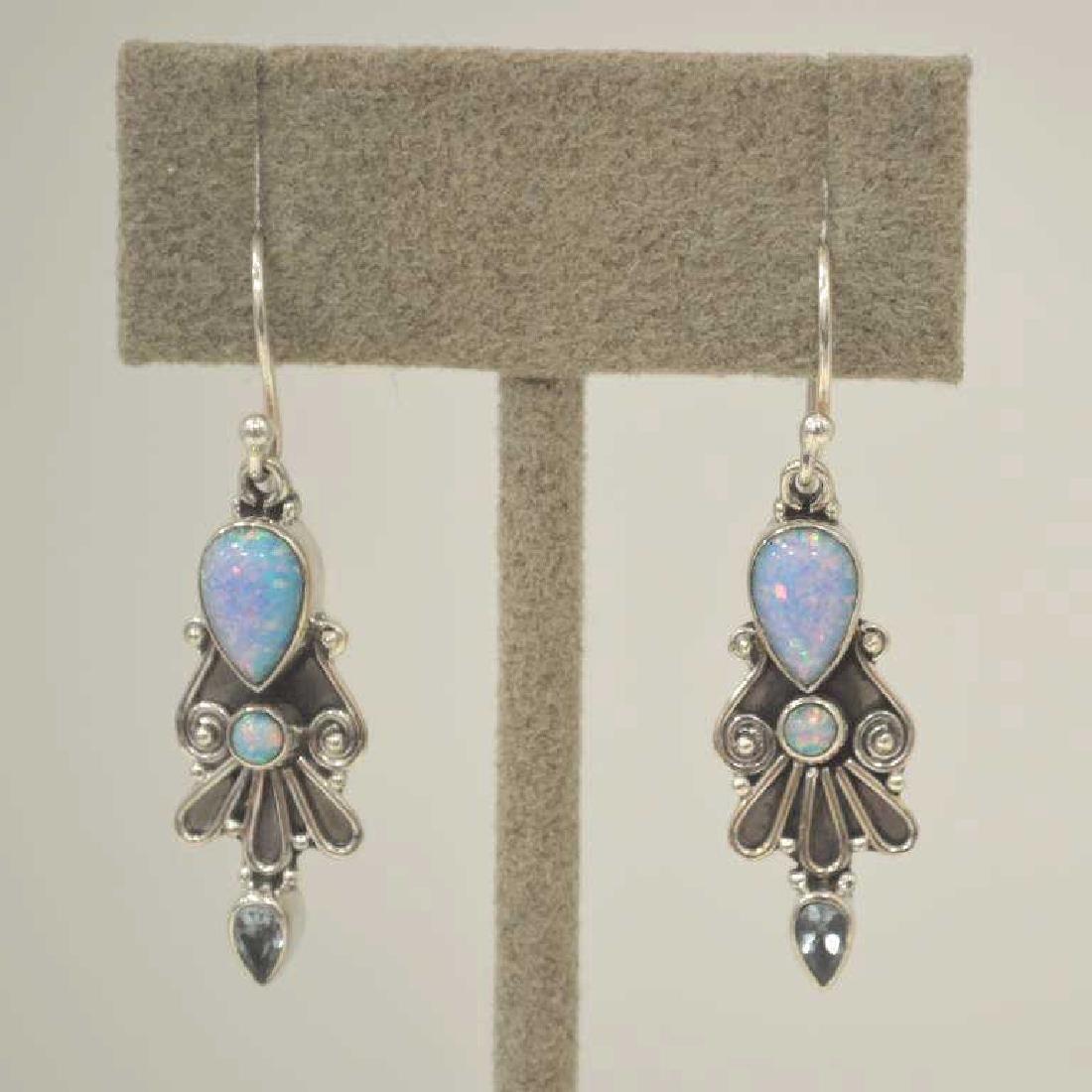 Sterling Silver opal and blue topaz earrings