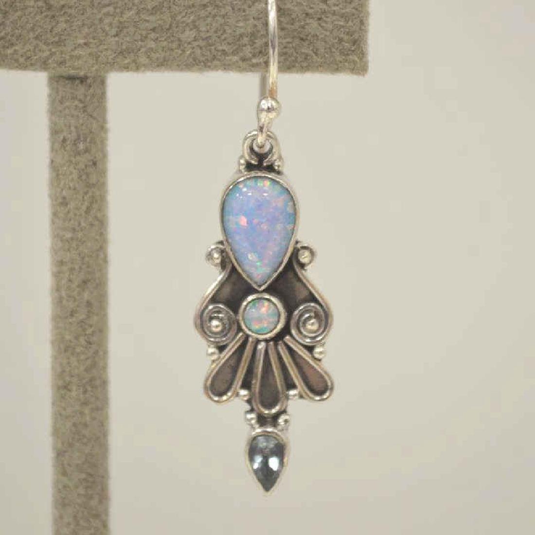 Sterling Silver opal and blue topaz earrings - 2