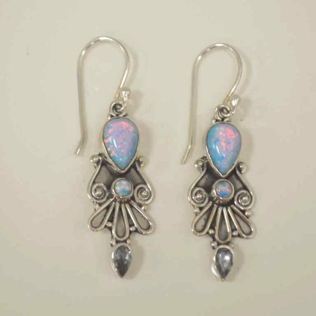 Sterling Silver opal and blue topaz earrings - 4