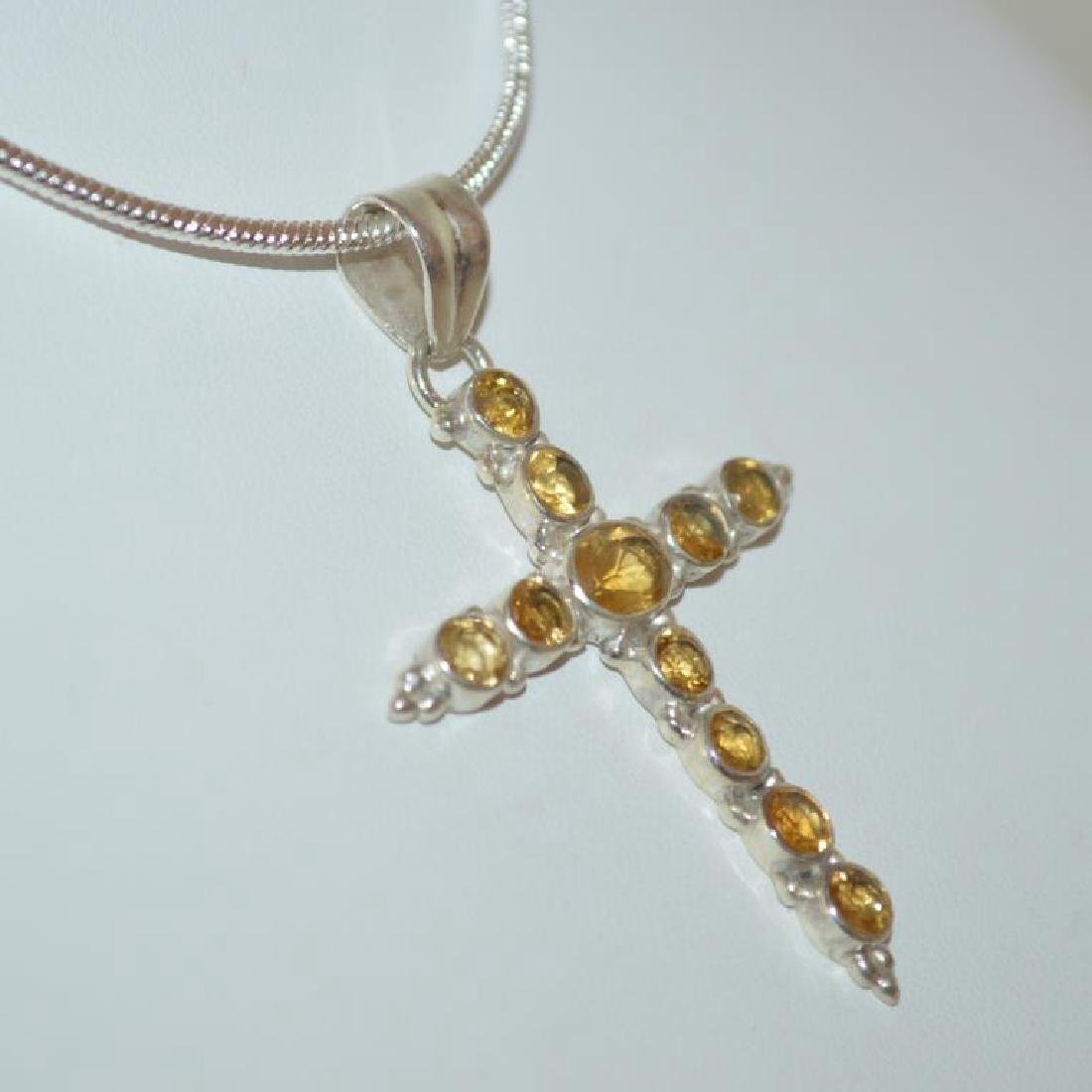 Sterling Silver citrine cross pendant - 3