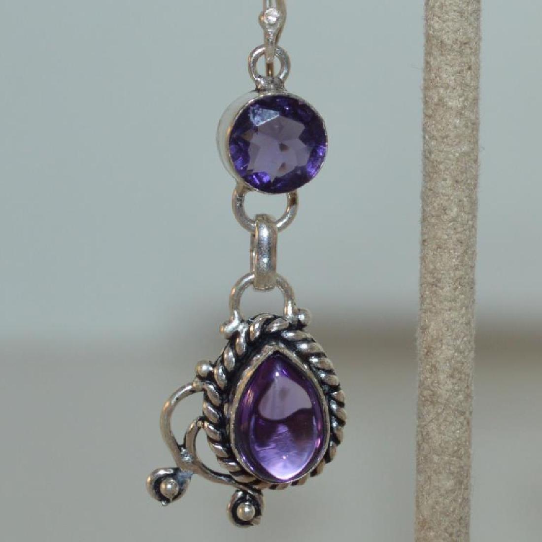Sterling Silver amethyst drop earrings - 2