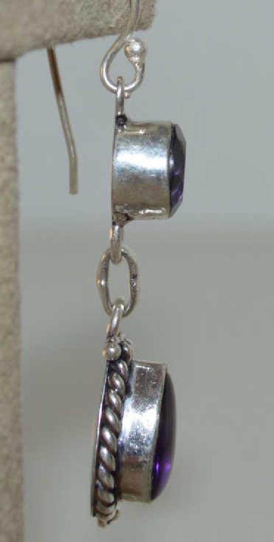 Sterling Silver amethyst drop earrings - 3
