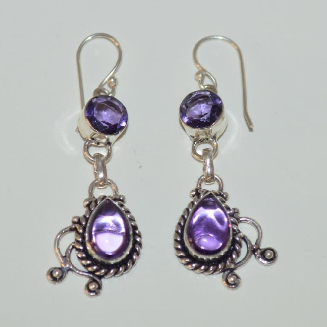 Sterling Silver amethyst drop earrings - 4