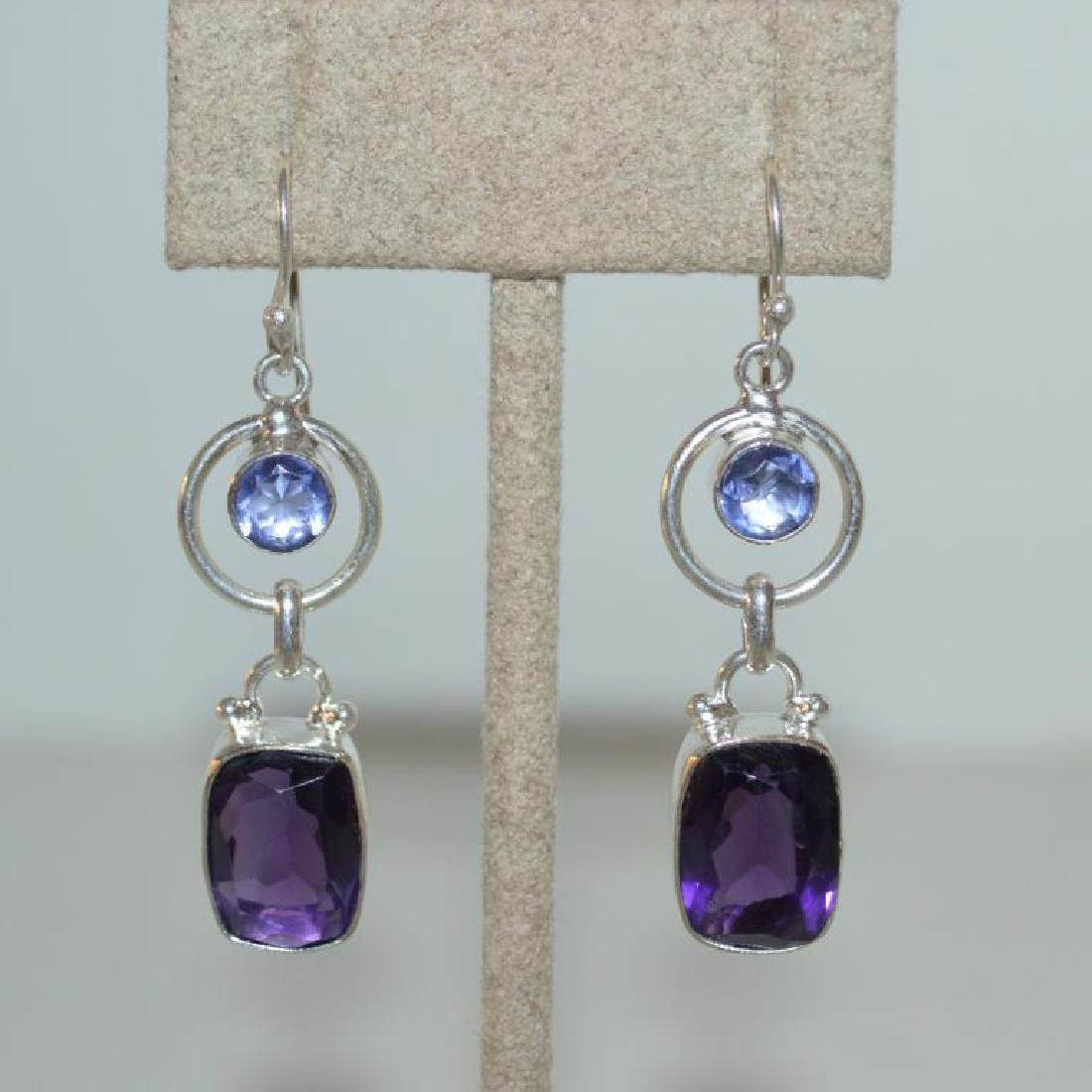 Sterling sliver tanzanite and amethyst earrings