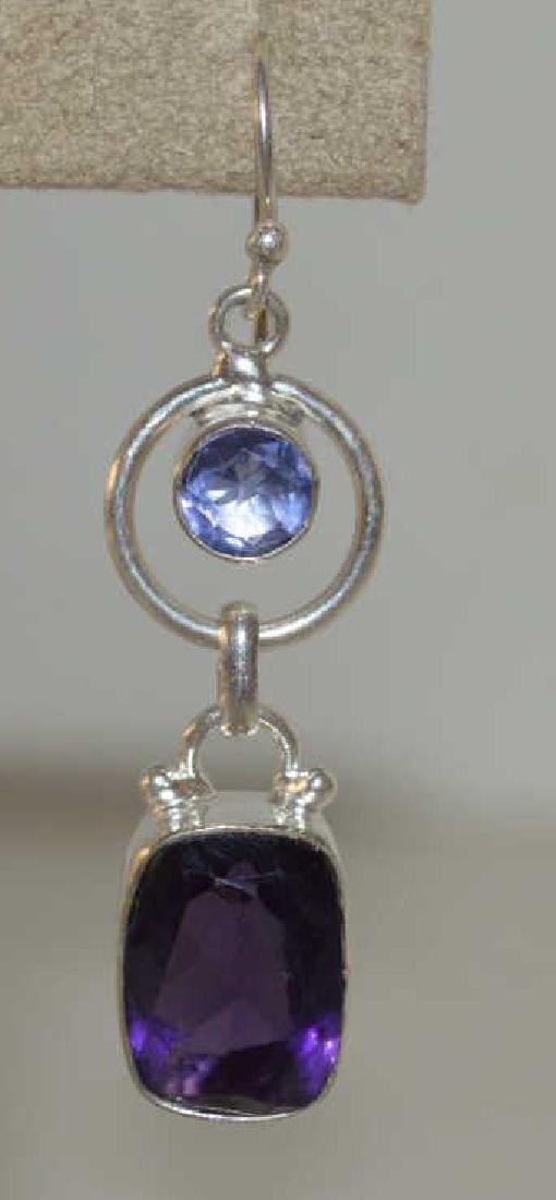 Sterling sliver tanzanite and amethyst earrings - 2