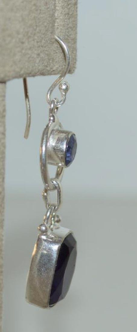 Sterling sliver tanzanite and amethyst earrings - 3