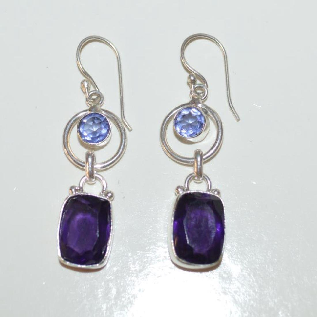Sterling sliver tanzanite and amethyst earrings - 4