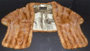 Maas Brothers Brown Fur Stole Cape Wrap