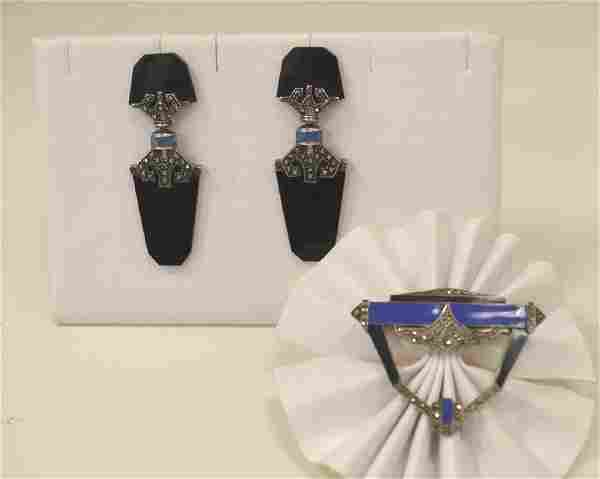 Vintage sterling silver and marcasite pin/earrings