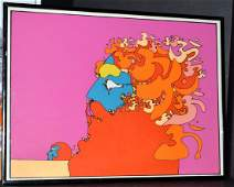 Framed 1972 Peter Max Golden Time Serigraph Arches