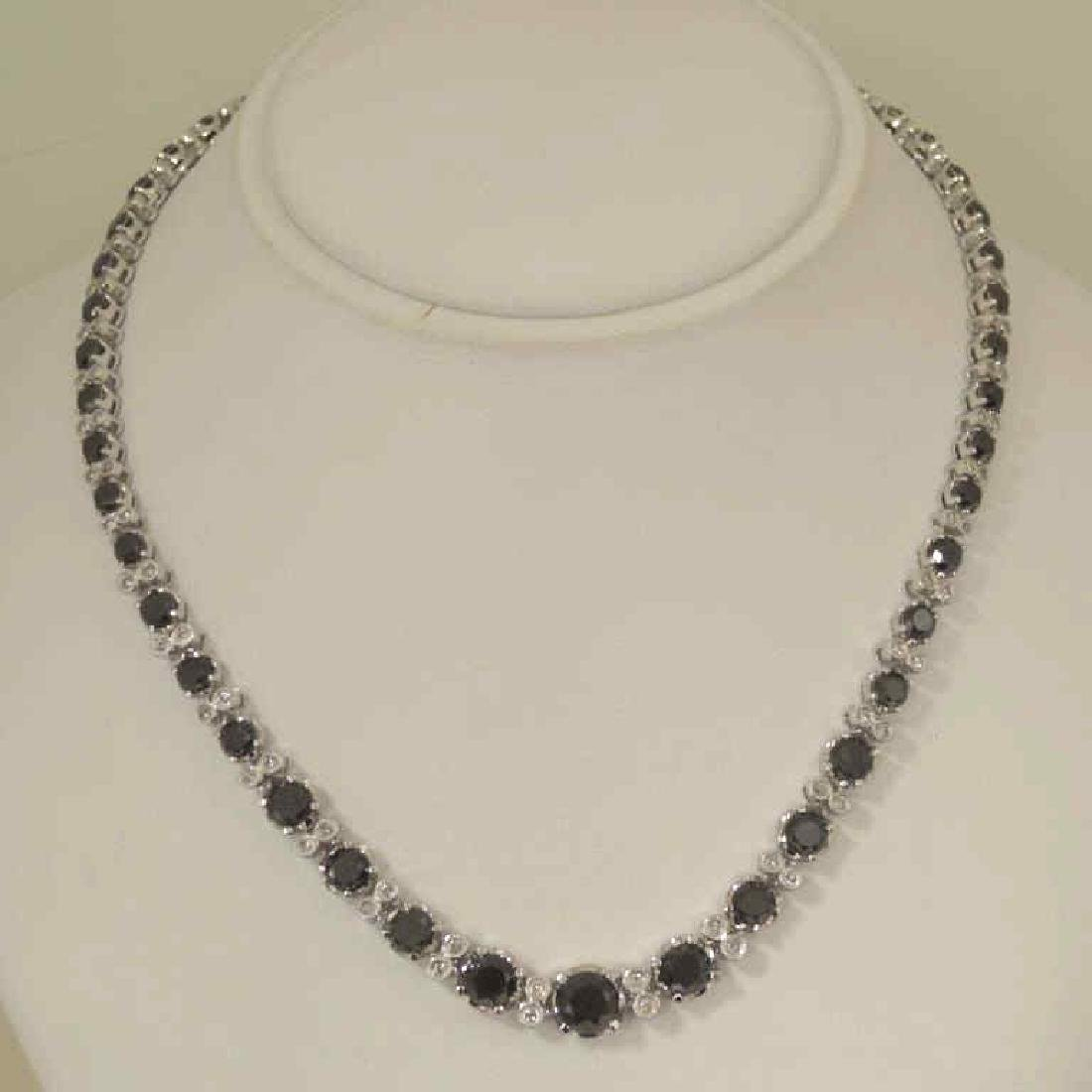 14kt white gold black diamond necklace