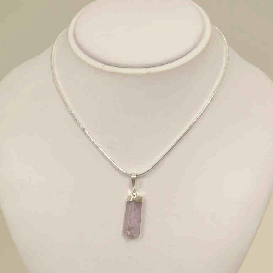 Sterling Silver kunzite crystal pendant