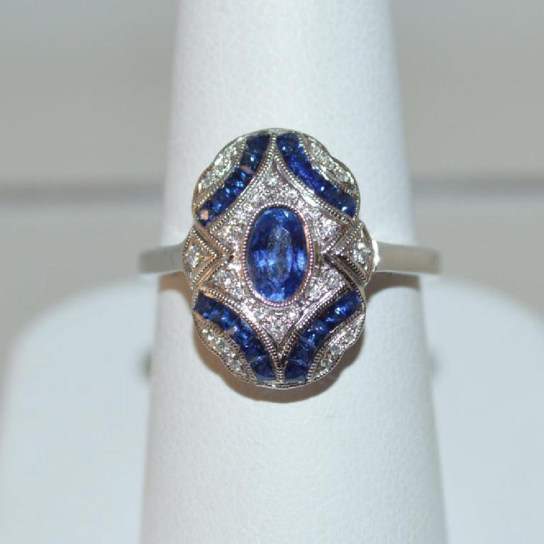 18kt white gold vintage style sapphire ring