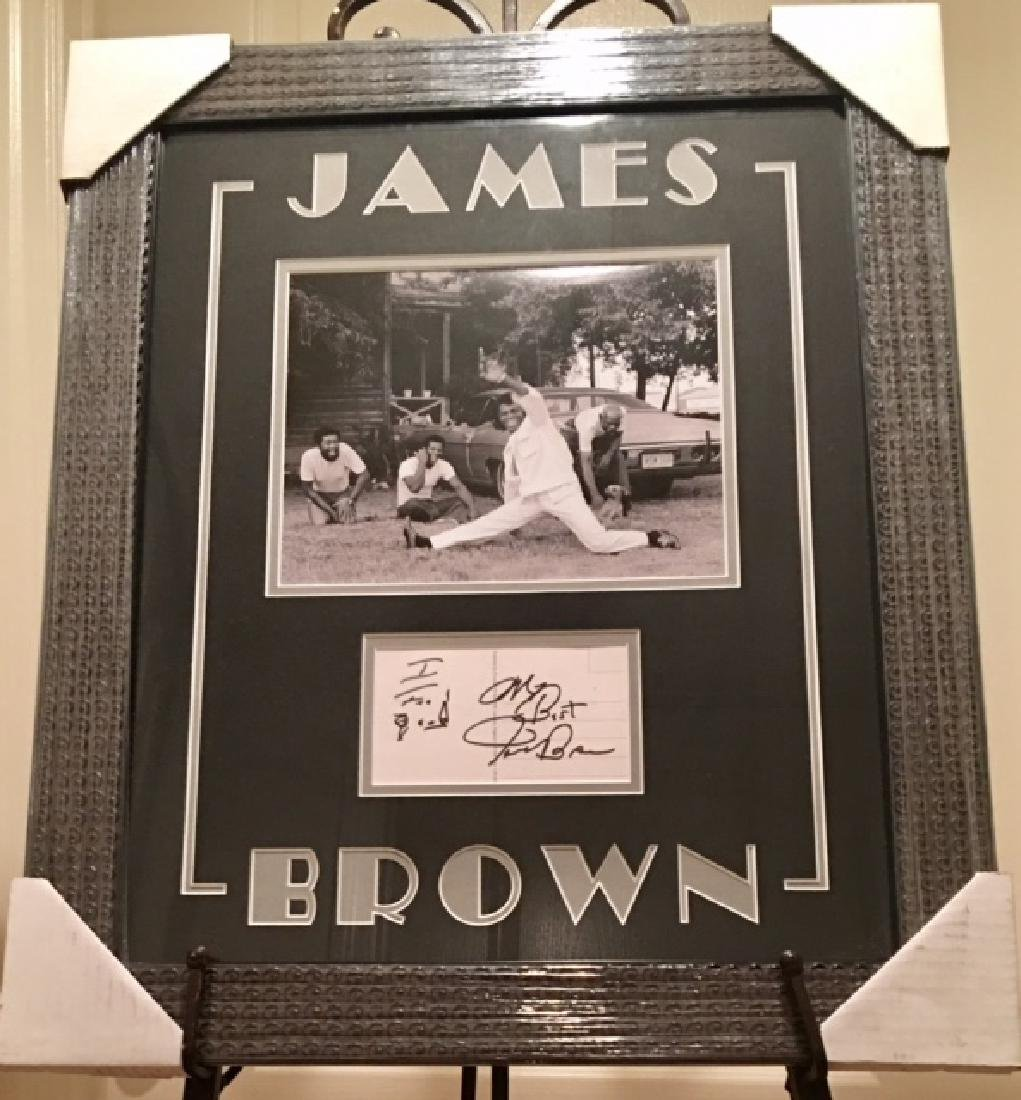 Framed & Matted James Brown Autograph & Photo