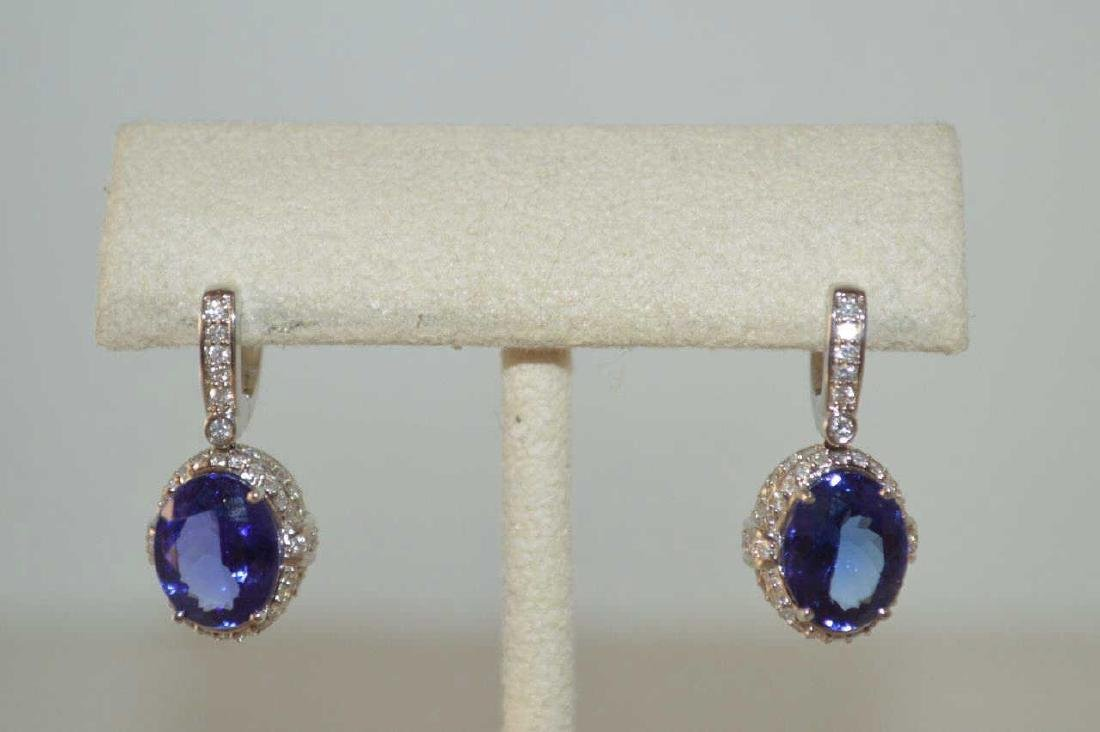 18kt white gold Tanzanite and diamond earrings