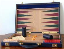 1970's Leather Asprey Medium Backgammon Set