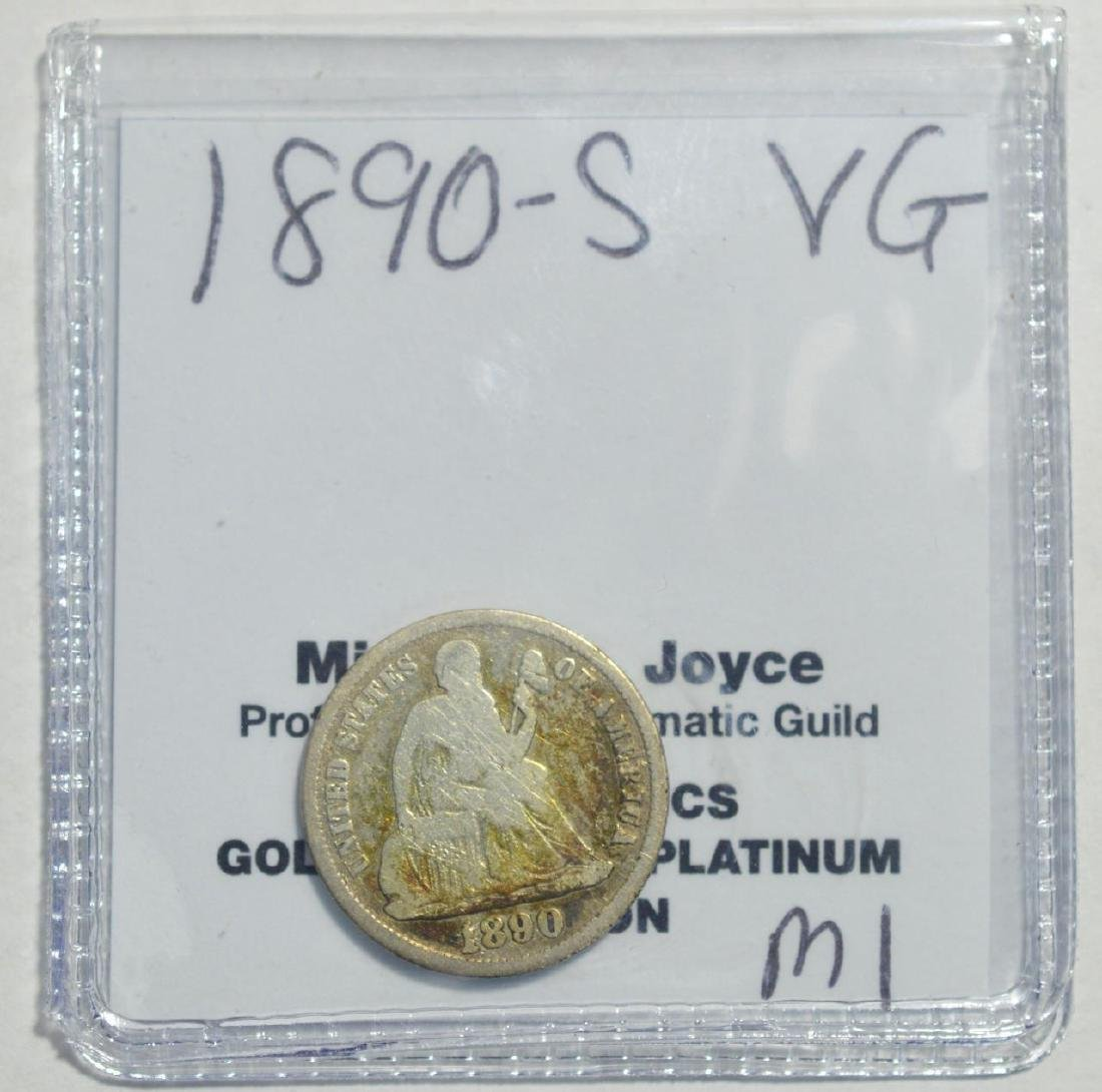 1890-S Liberty Seated Dime VG - 2