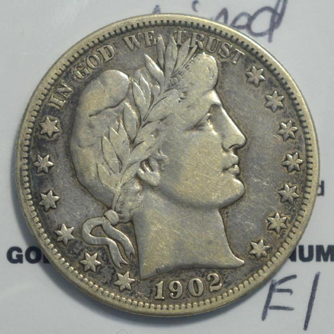 1902-O Barber Half Dollar VF wiped