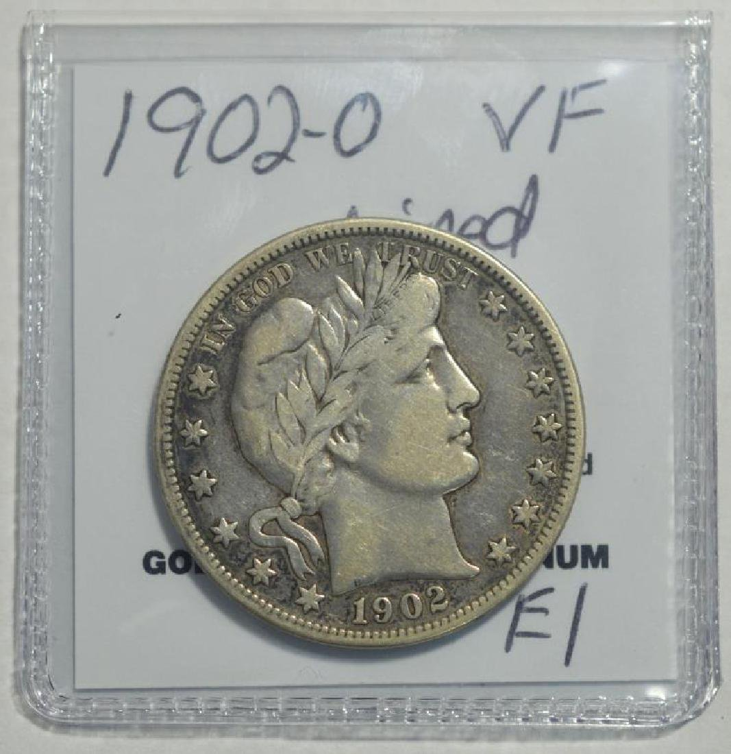 1902-O Barber Half Dollar VF wiped - 2