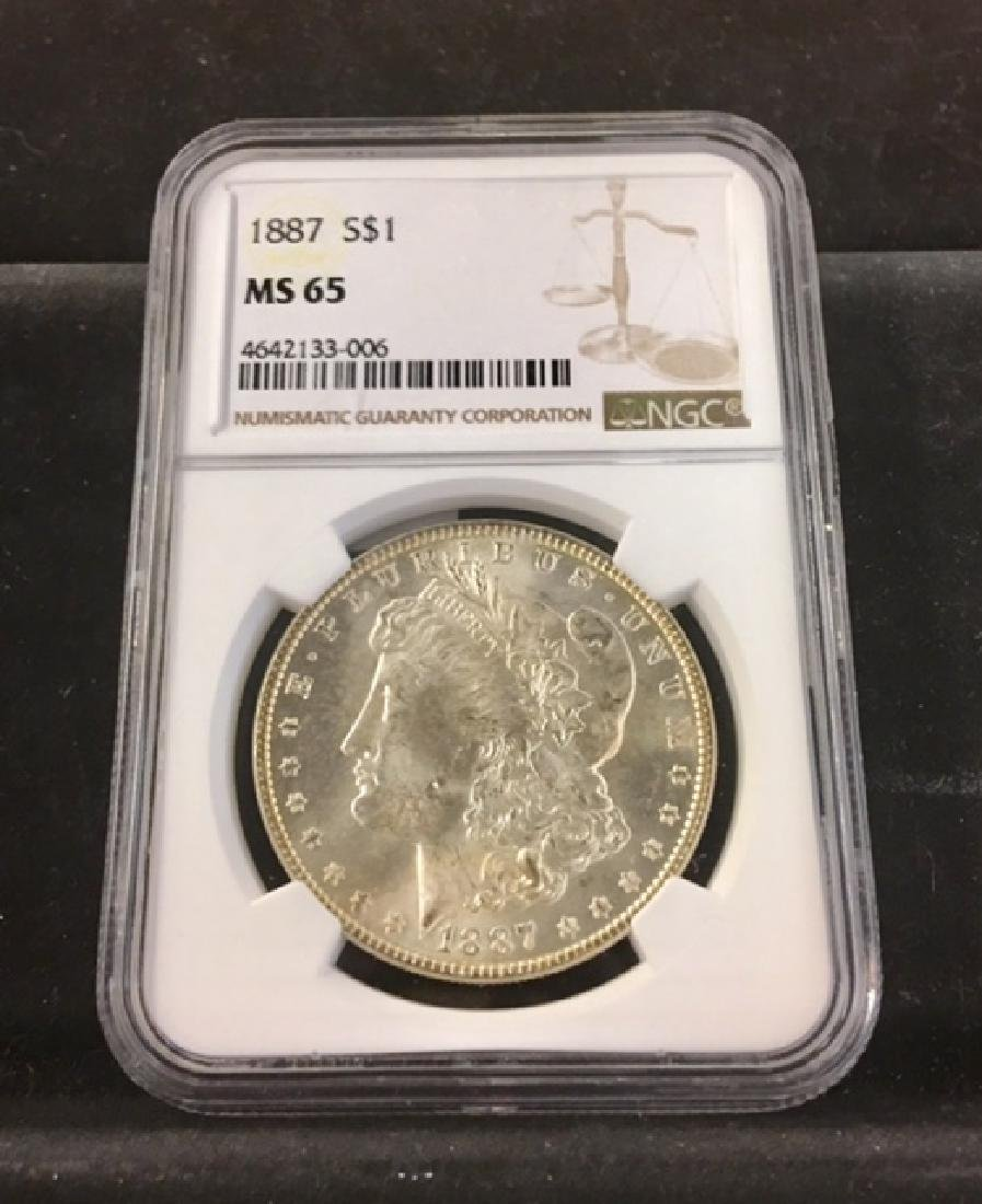 1887 Morgan Silver Dollar NGC 65