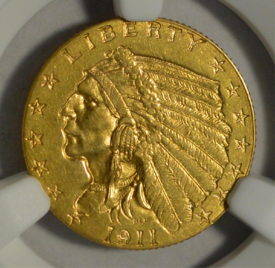1911-D G$2.5 Indian Head Quarter Eagle NGC AU Det.