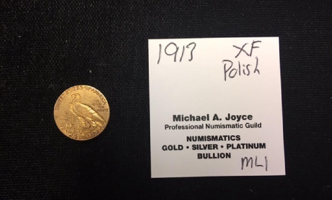 1913 2.50 Indian Quarter Gold Eagle XF Polished