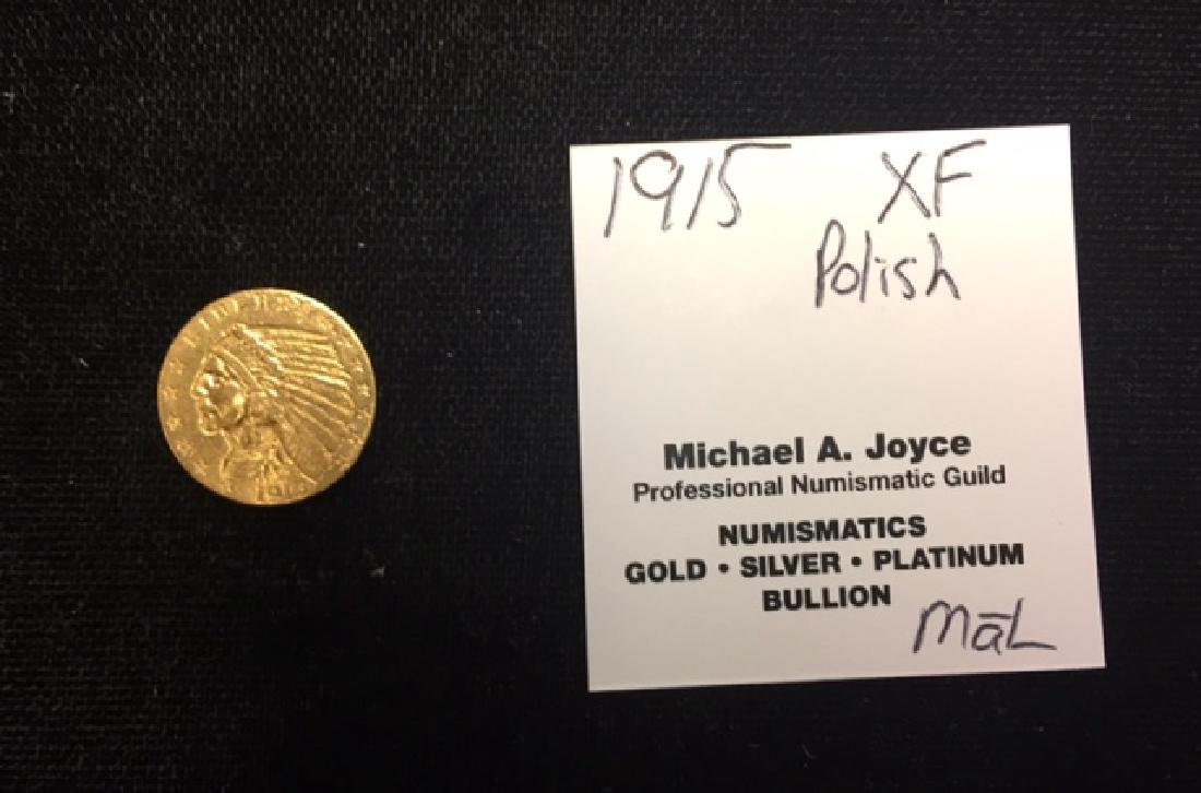 1915 2.50 Quarter Gold Eagle XF Polished