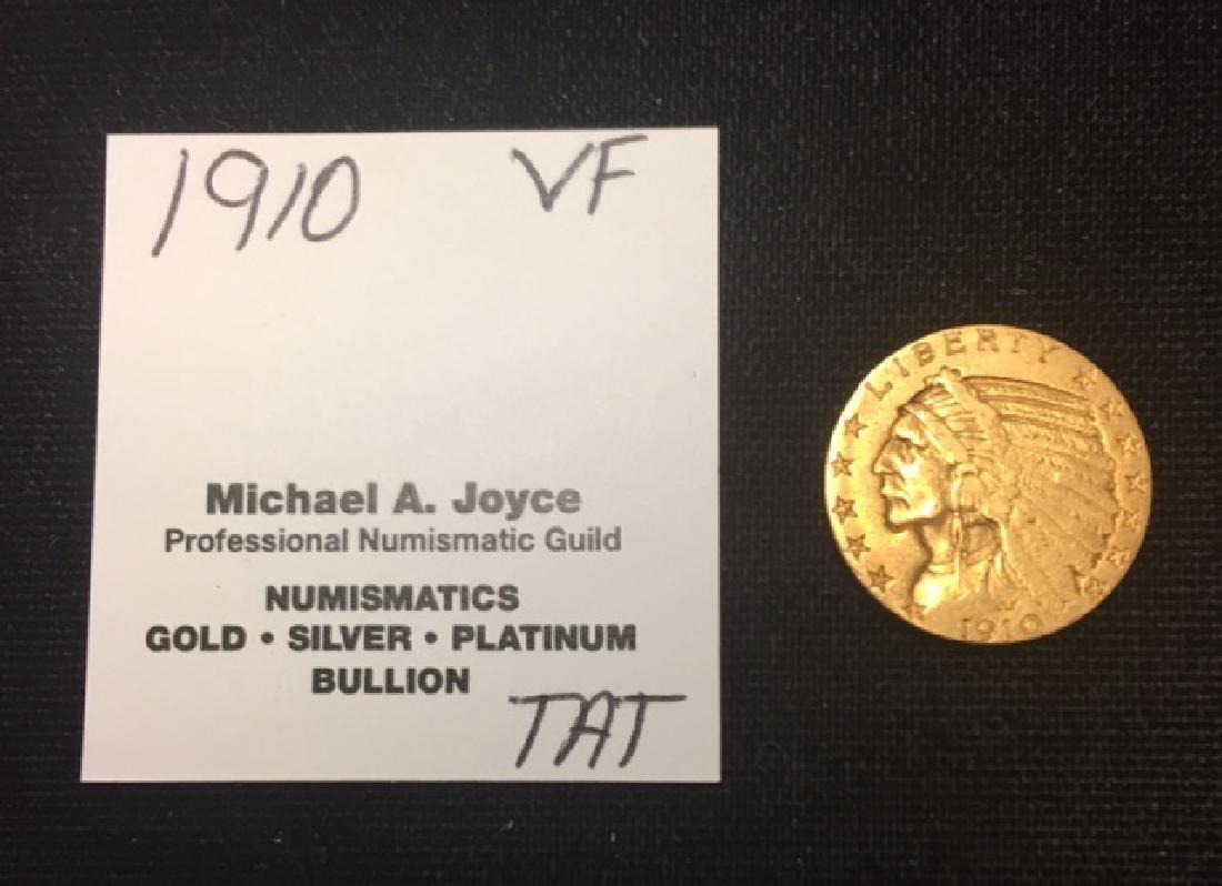 1910 $5 Gold Indian Half Eagle VF